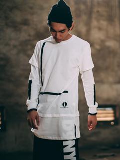 Streetwear Contrast Color Lengthening Mens Cool Tshirt Long Sleeve Cheap White Tee
