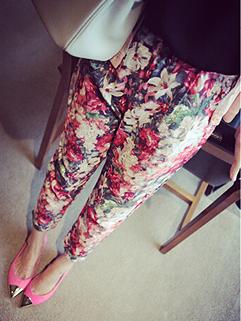 2015 Korean Stylish Casual Floral Printing Long Harem Pants