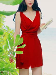 Summer V-neck Bandage Sexy Sun Dress Sleeveless Ruched Red Coast Dress