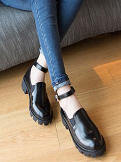 2015 Vintage Elegant Flats For Women Buckle Round Toe Black Flats