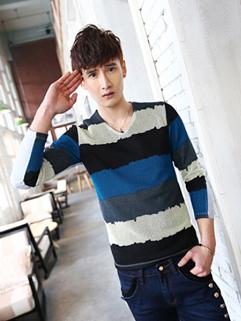 All Match Long Sleeve V Neck Striped Printed 2XL Split Joint Trendy Men Tee