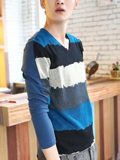 Fashion Men Blue Long Sleeve V Neck Striped Printed Split Joint Tee For Sale