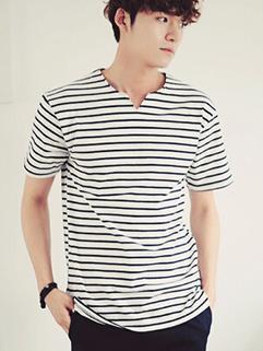 New Arrival V-neck Short Sleeve Cheap Striped T shirt For Man