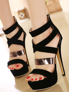 Party Show Front Cross Open Toe Celebrity Pumps Thin Heels Paillette Womens Black Shoes