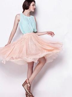 Summer New Match High Quality Chiffon Ruffle Charming Trendy Womens Skirt