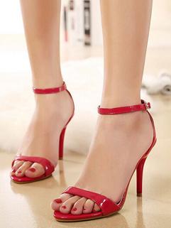 2015 Latest Open Toe Buckle-loop Red Sandals Thin Heels Ladies Sandals