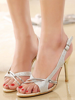 Summer Front Cross Glittering Silvery Sandals Open Toe Thin Heels Gladiator Sandals