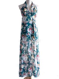 2015 Summer Flower Printing V-neck Halter Dress Open Back High Waisted Coast Dress