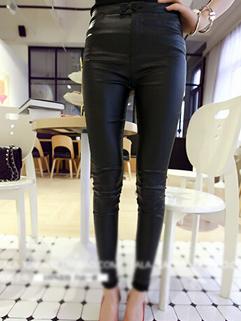 2015 Street Wear All Match Black Classic Skinny High Waist Button Women Pant