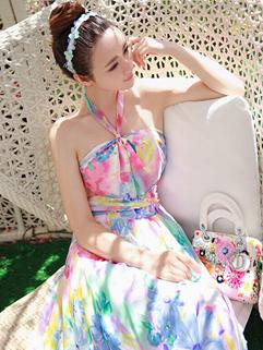 Beautiful Flowers Print Halter Neck Holiday Dress Backless Elastic Smart Waist Maxi Dress