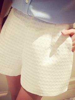 Korean OL Style White Plaid Printed Vertical Pocket Women Spring Hot Pant