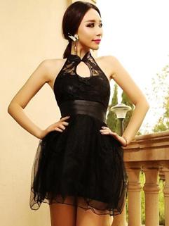 Mandarin Collar Hollow Out Beautiful Dress Backless Smart Waist Fluffy Chinese Dress
