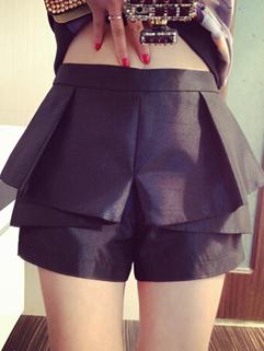 2015 Vintage Brand Black Zipper High Waist Split Joint Short Pant