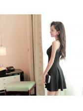 Wholesale Low Cost Black Sexy Night Club Wear Halter Chiffon Split Ruffle Women Dress