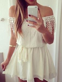 2015 Fashion Cute Dress For Women Bandage Tassel Boat Collar White Dress