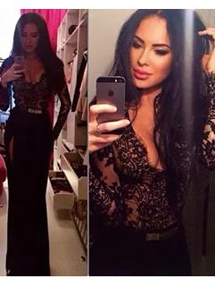 Sexy Women Long Sleeve V-Neck Lace Black Pencil Maxi Dress