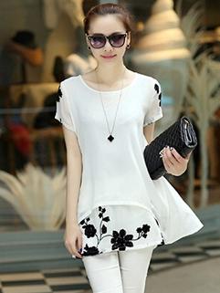 Elegant Fashion Embroidery Short Sleeve Overlay Loose Maternity Chiffon Dress