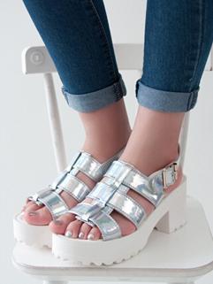 Summer Glitter Buckle-loop Chunky Heels Wholesale Korean Womans Shoes