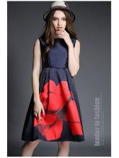Elegant Women Sleeveless Print Ball Gown Dress