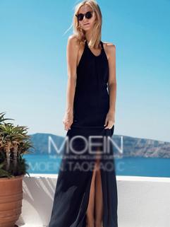 Halter Neck Open Back Hem Slits Black Coast Dress