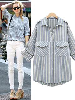 European Fashion Casual Women Striped Loose Long Sleeve Blue Blouse