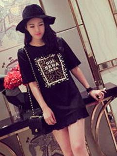 Wholesale Black Summer Look Split Joint Leopard Printed Pearl Pleated Dress