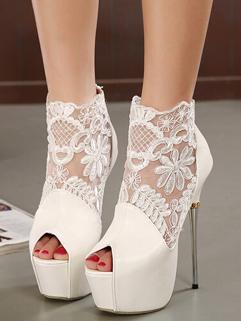 High Quality Lace Matching Hook Flower White Pumps Thin High Heels Peep Toe Dress Pumps