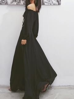 Korean Style Chiffon Black Boat Neck High Level Two Piece Dress