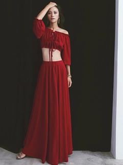Wholesale Street Trendy Design Wine Red Boat Neck Women Two Piece Dress