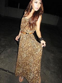 Euro American Chiffon High Quality Strap Leopard Printed Sexy Trendy Summer Dress