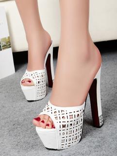 Fashion Holes Peep Toe Rough Heels Club Pumps