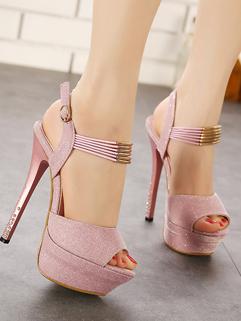 Nightclub Style Peep Toe Thin High Heels Pink Pumps A Buckle Glittering Sexy Pumps