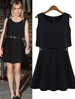 2015 New Arrival Women O-Neck Sleeveless Lace Split Black Dress
