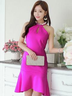 Sexy Halter Neck Fishtail Hem Rose Dress Hollow Out Backless Studded Club Dress