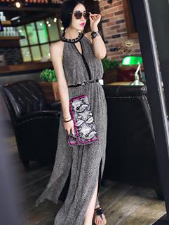 High-end Hollow Out Halter Neck Celebrity Dress Hem Slits Serpentine Maxi Dress