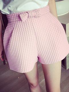 All Match Pink High Quality Vertical Pockets Bow Boot Cut Slim Wear Women Shorts