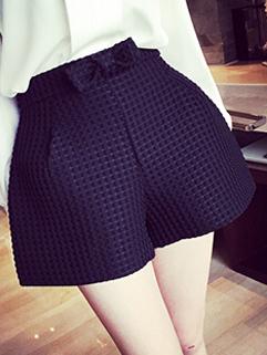 Korean Style Sexy And Elegant Black Bow Pockets Zipper Fly Boot Cut Shorts