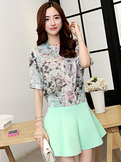 2015 Summer Korean Women Floral Printing Hollow Out Sexy Two Pieces Dress