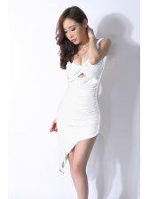 V-neck Hollow Out Sleeveless White Dress