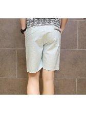 Low-cost Half Length Slant Pockets Cozy Linen Pants For Man