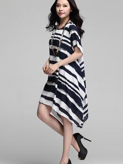 Korean High Quality Blue Striped Printed Short Sleeve Casual Summer Dress