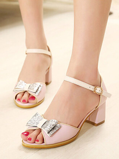 Korean Style Trendy Design 2 Color Honey Bow Sequined Open Toe Summer Sandals