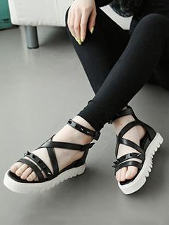 Online Low Price Black High Quality Open Toe Back Zipper Rivets Summer Sandals