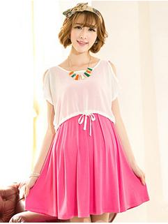 Custom Design Women Short Sleeve Loose Rose Two Pieces Dress