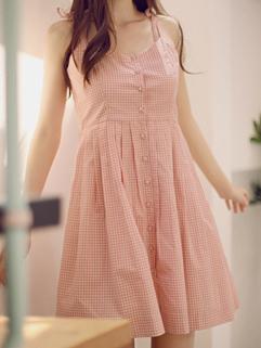 2015 Sweet Korean Women Plaid Pattern Loose Pink Dress