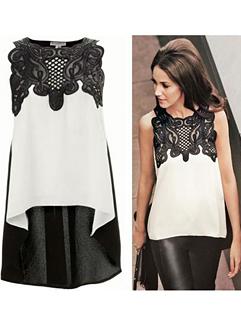 2015 Fashion Korean Women Sleeveless Pu Split Hollow Out White Blouse