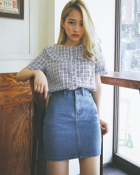 Korean Vintage Casual Women Wrap Zipper Up Denim Skirt