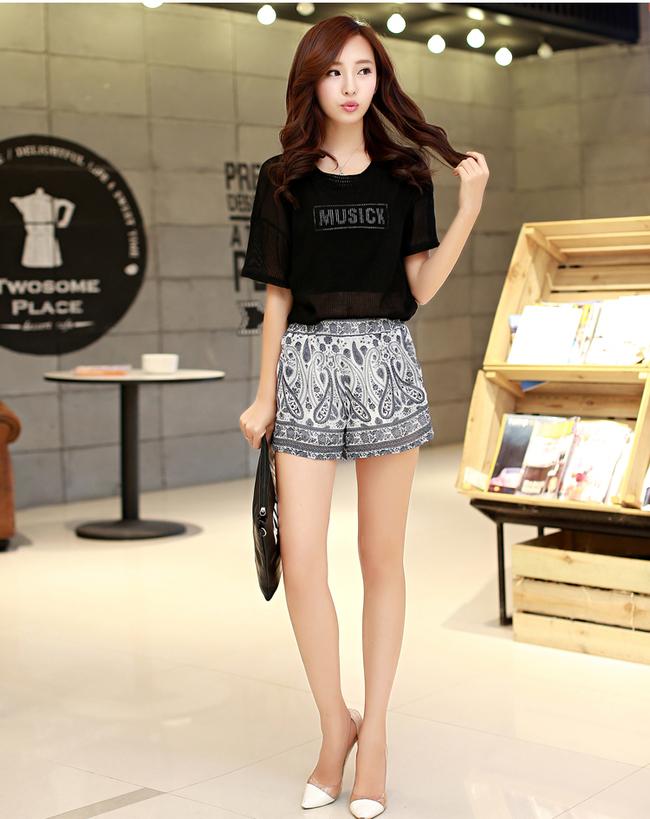 2015 National Korean Women Floral Printing Short Chiffon Pant