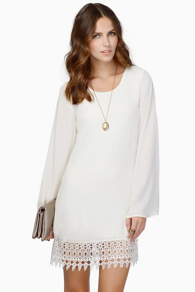 2015 Korean Fashion Women Lace Split Long Sleeve White Dress