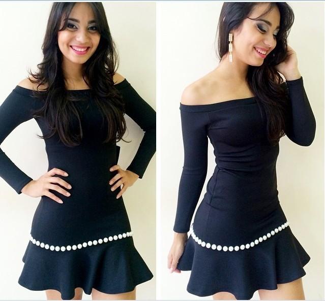 2015 Summer Sexy Women Boat Collar Beading Black Dress